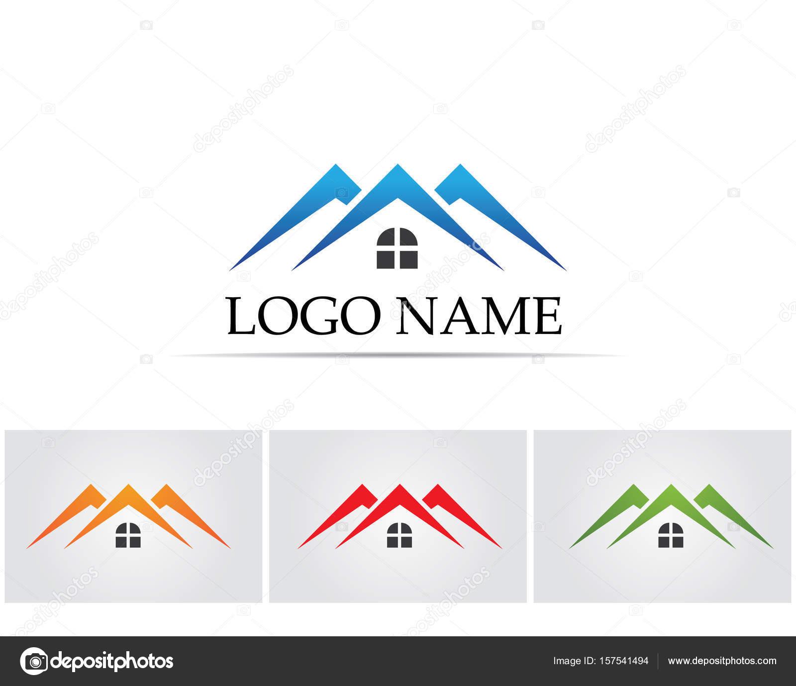 Immobilien und Haus Gebäude Logo Symbole Vorlage — Stockvektor ...