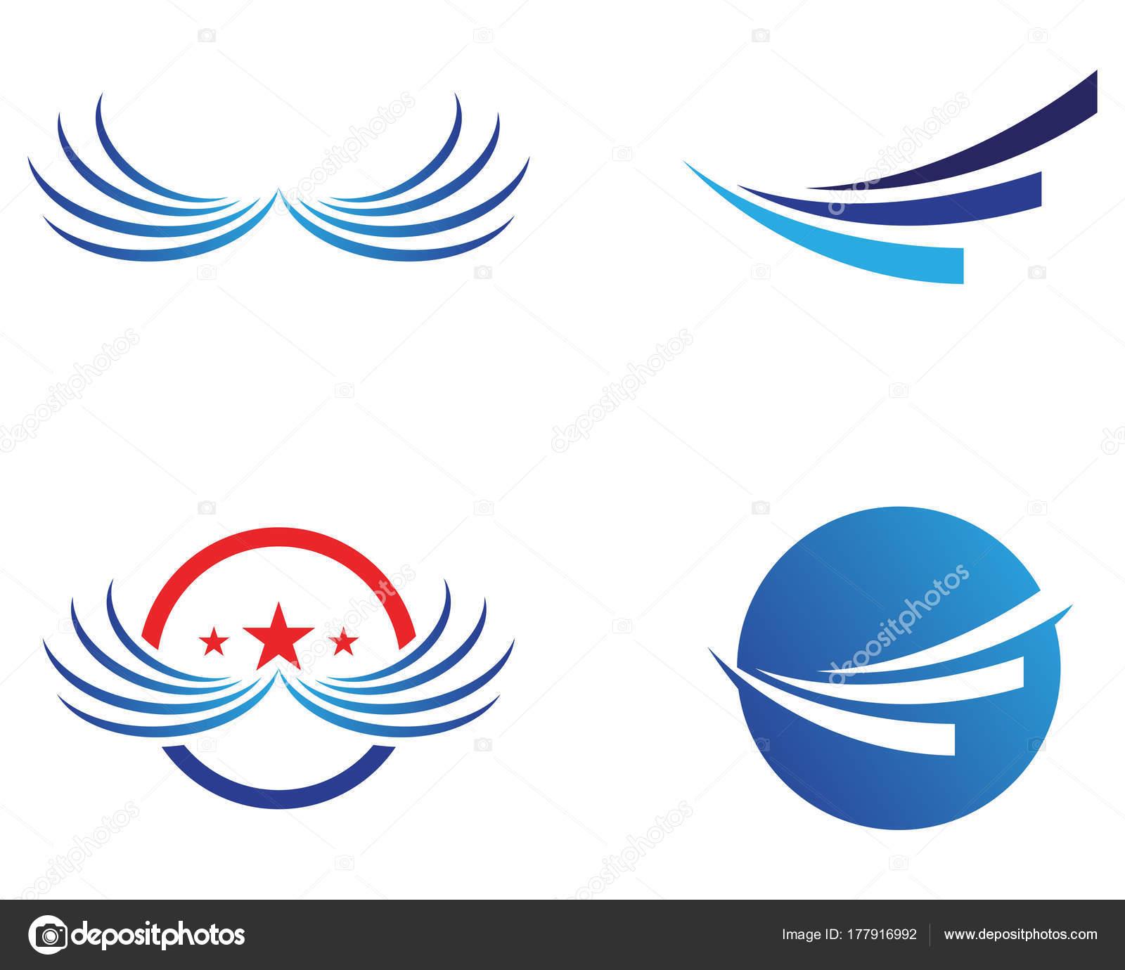 Flügel Vogel Zeichen abstrakte Vorlage Symbole app — Stockvektor ...