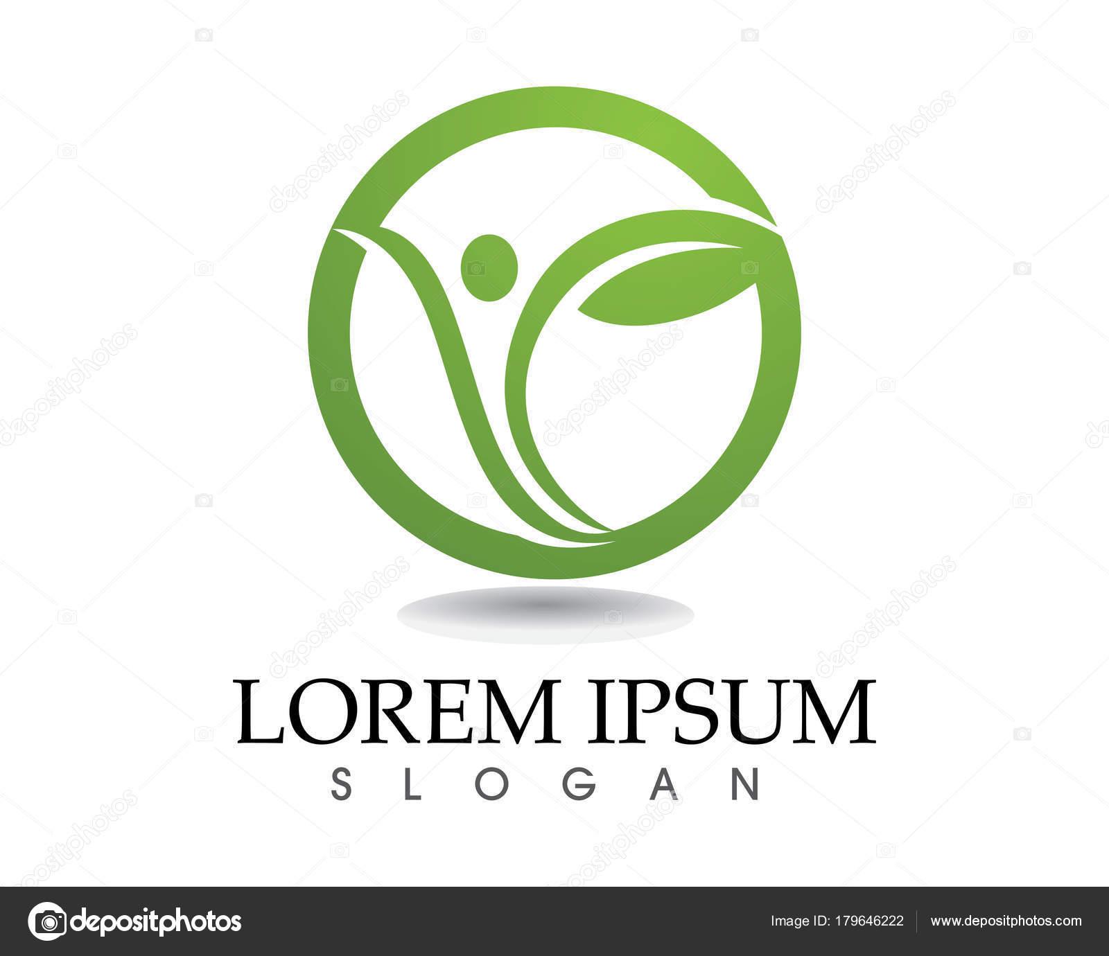 Símbolos y salud logo plantilla hoja verde — Vector de stock ...