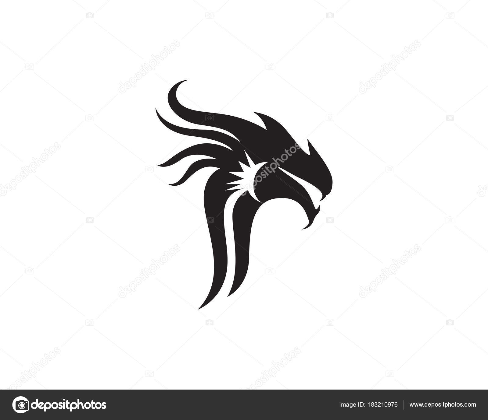 head dragon flat color logo template vector illustration stock