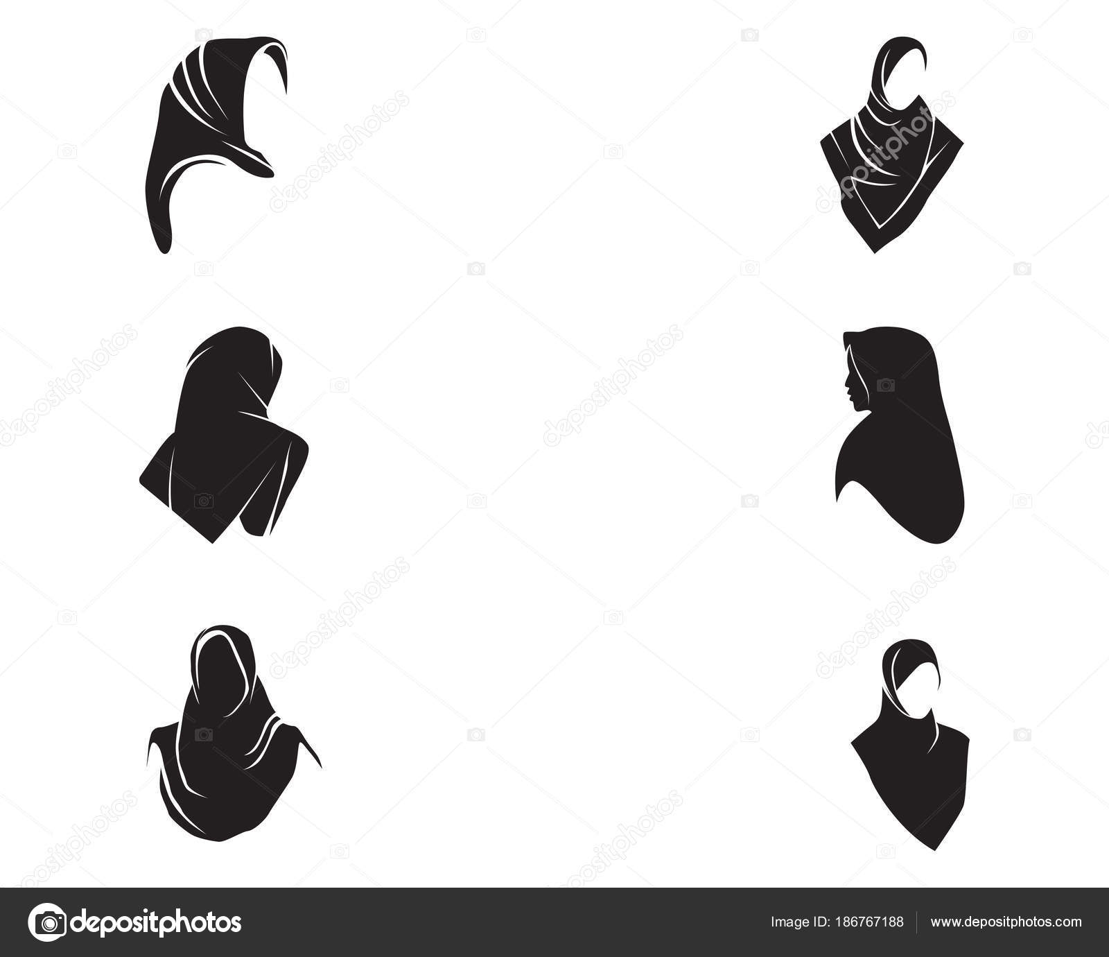 Hijab women black silhouette vector icons app \u2014 Stock Vector