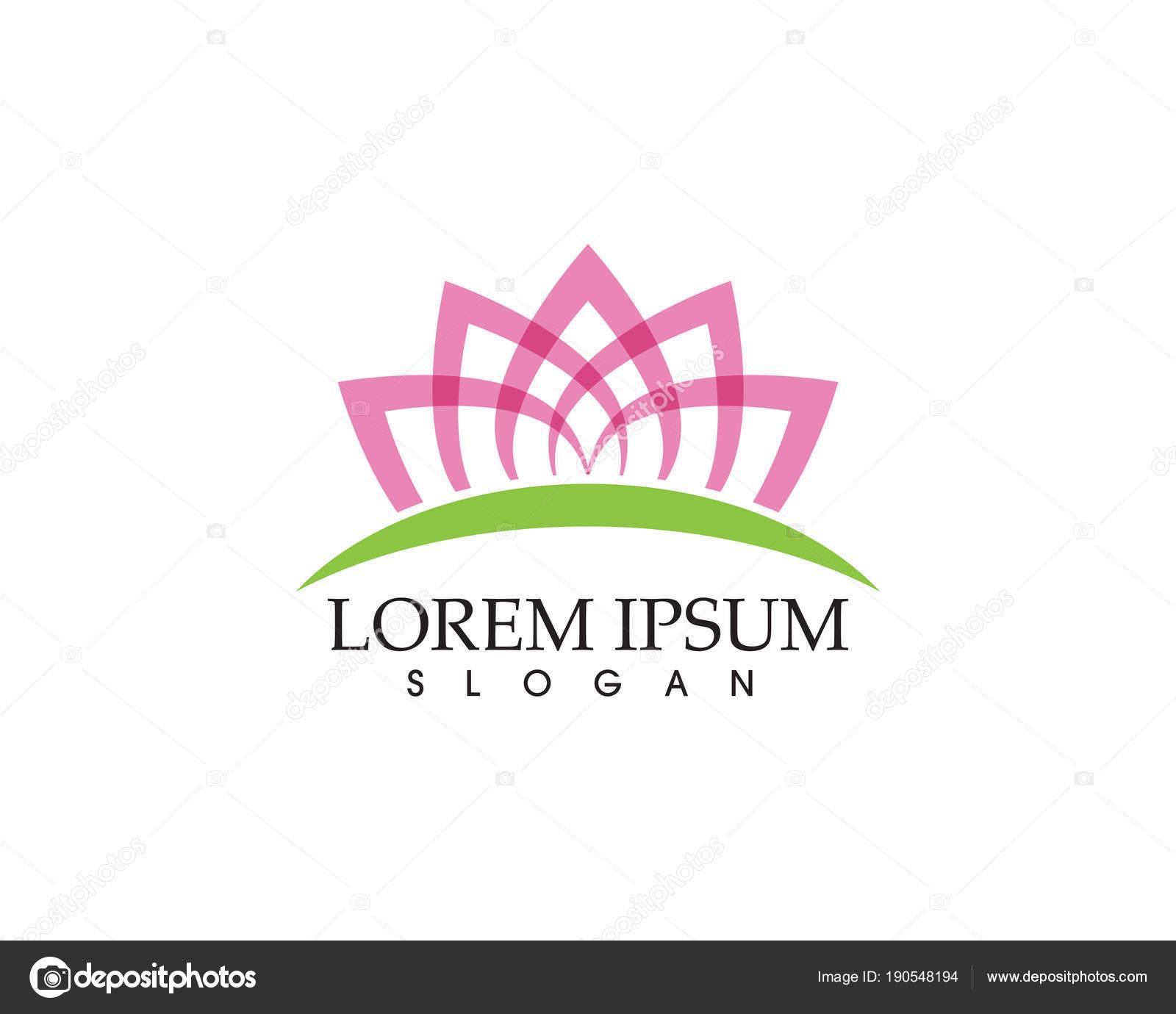 Beauty Vector Lotus Flowers Design Logo Template Icon Stock Vector