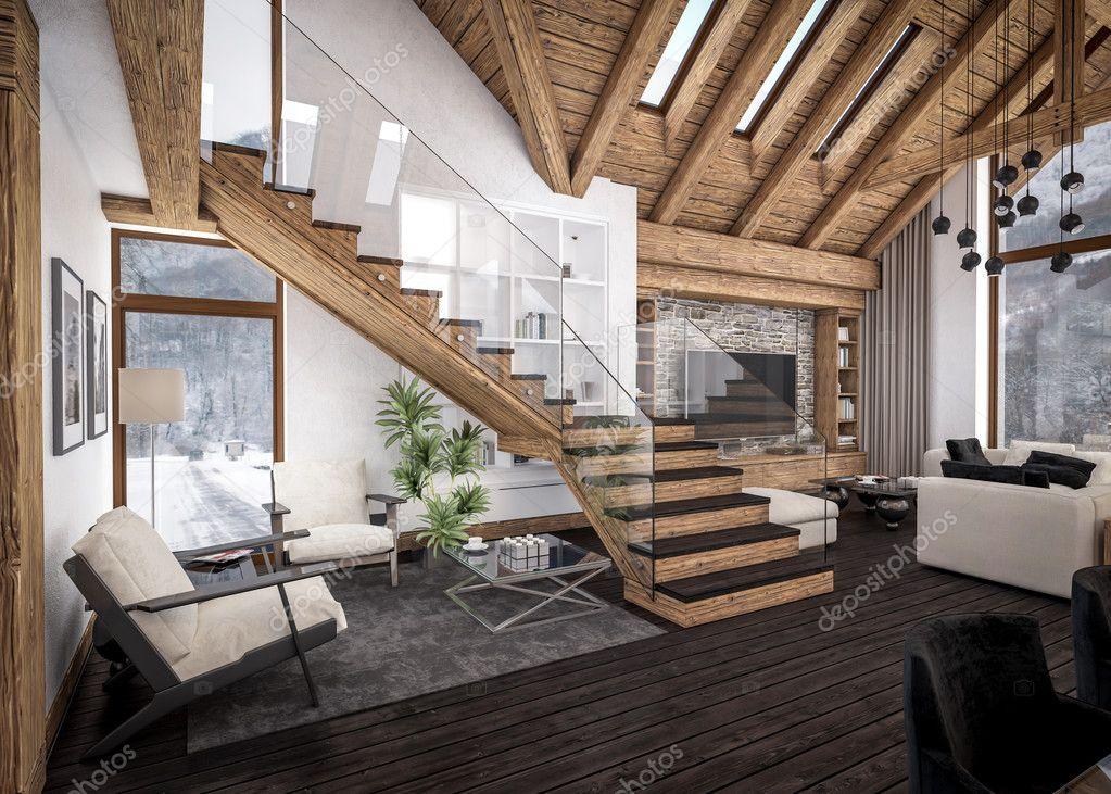 D rendering van woonkamer van chalet u stockfoto korisbo gmail