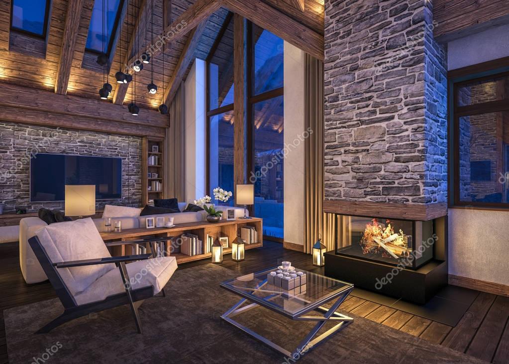 D rendering van avond woonkamer van chalet u stockfoto korisbo