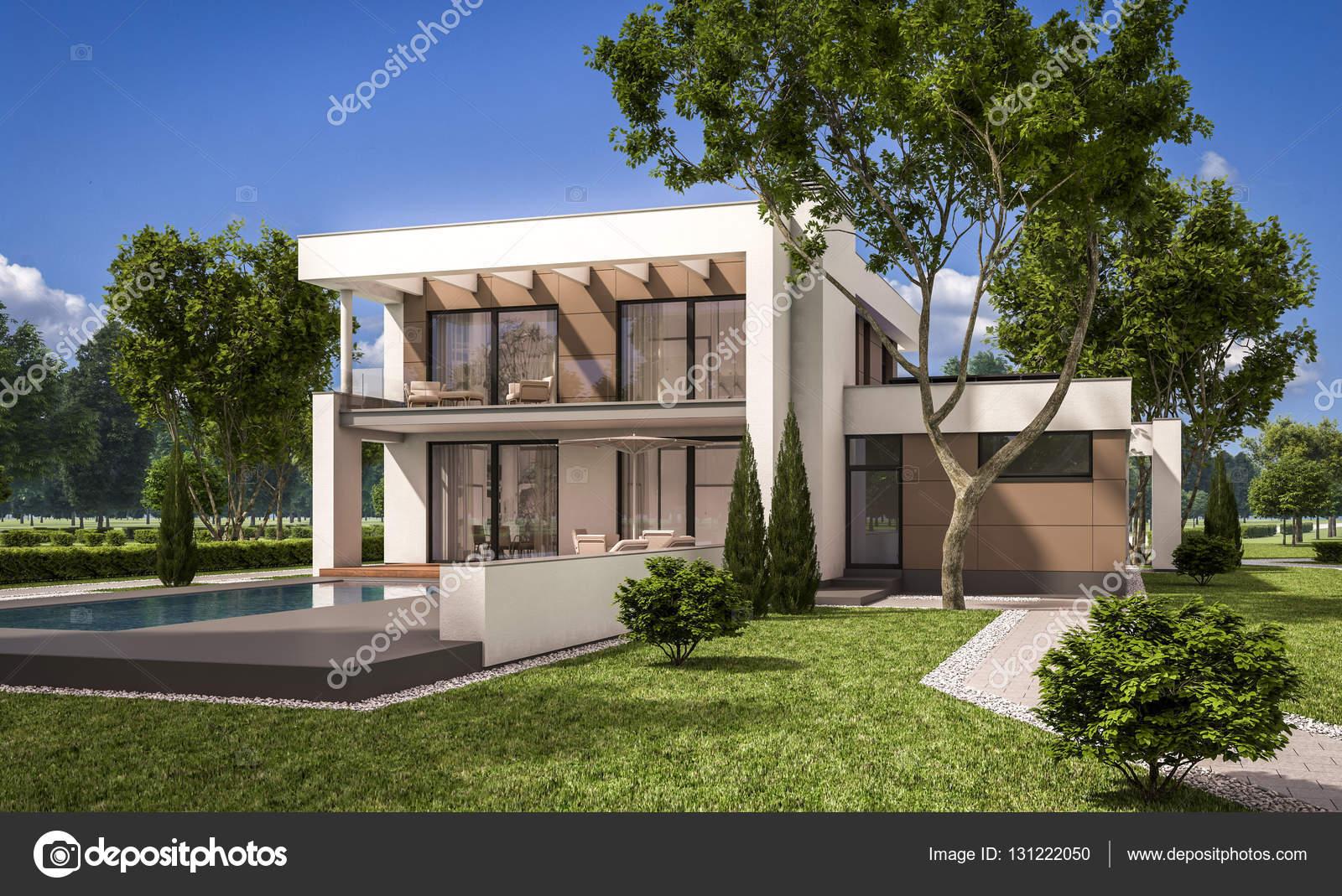 Render 3d de casa moderna foto de stock korisbo gmail for Casas modernas renders