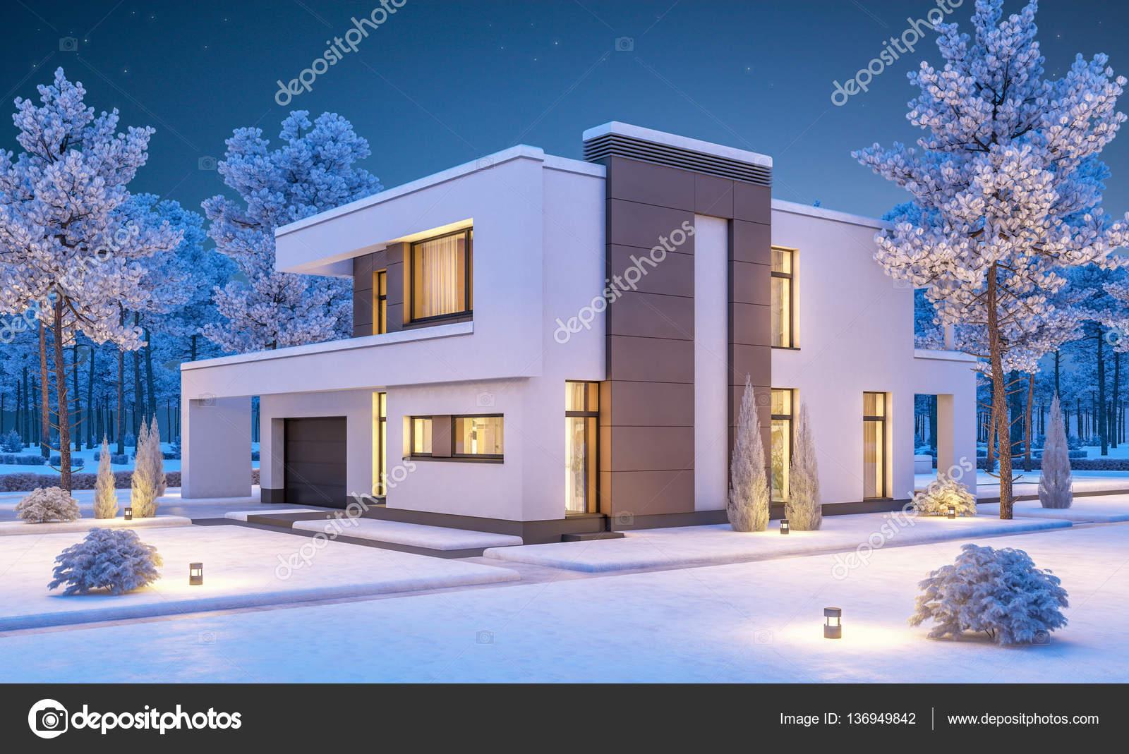 Render 3d de casa moderna de invierno en la noche fotos for Foto casa moderna