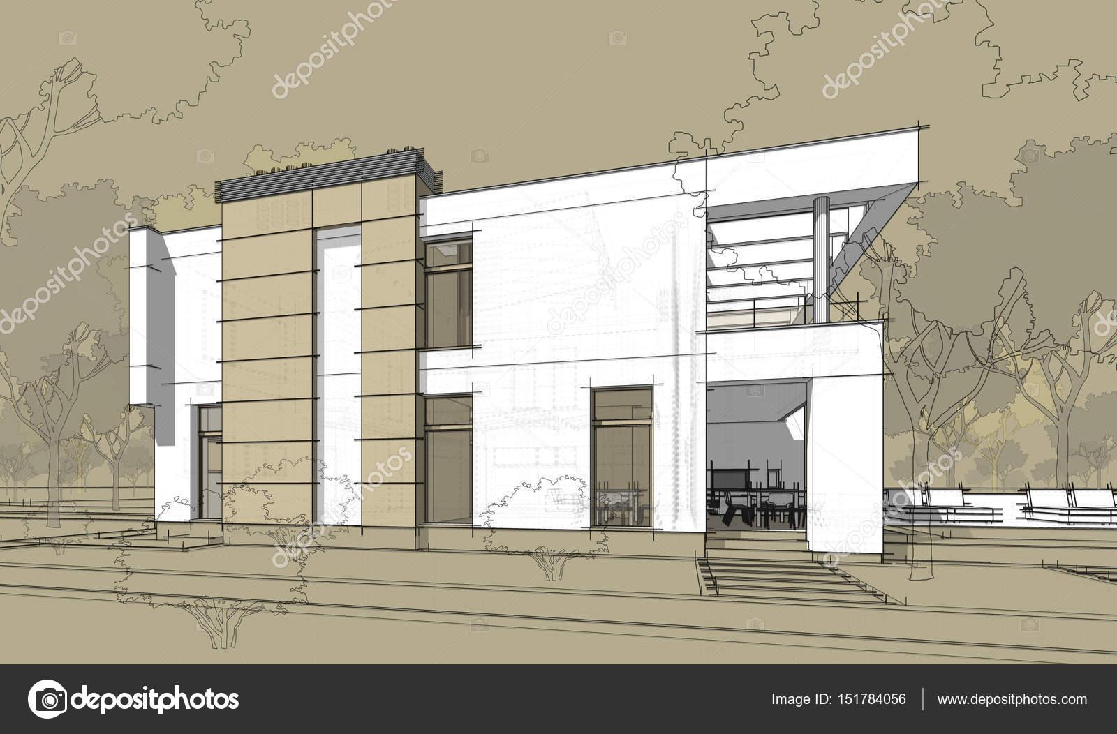 Schizzo di rendering 3d della casa accogliente moderna for Piani casa moderna collina