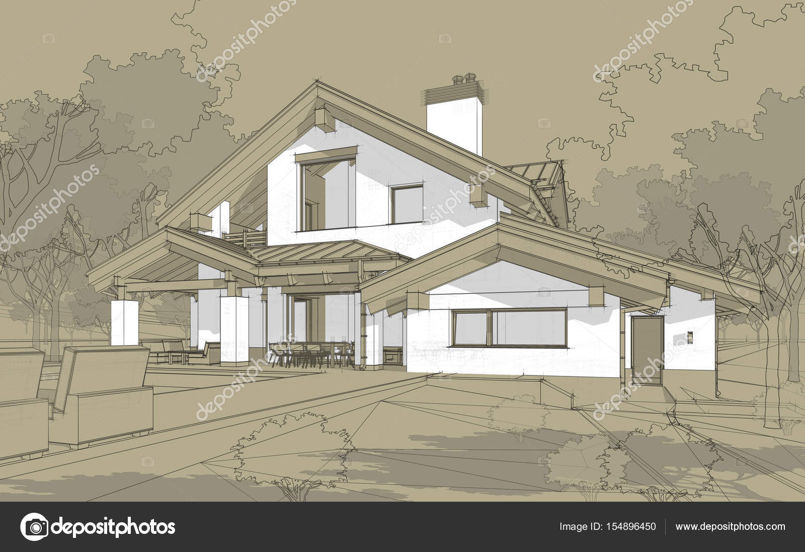 D render schets van gezellige stadsvilla in chalet stijl