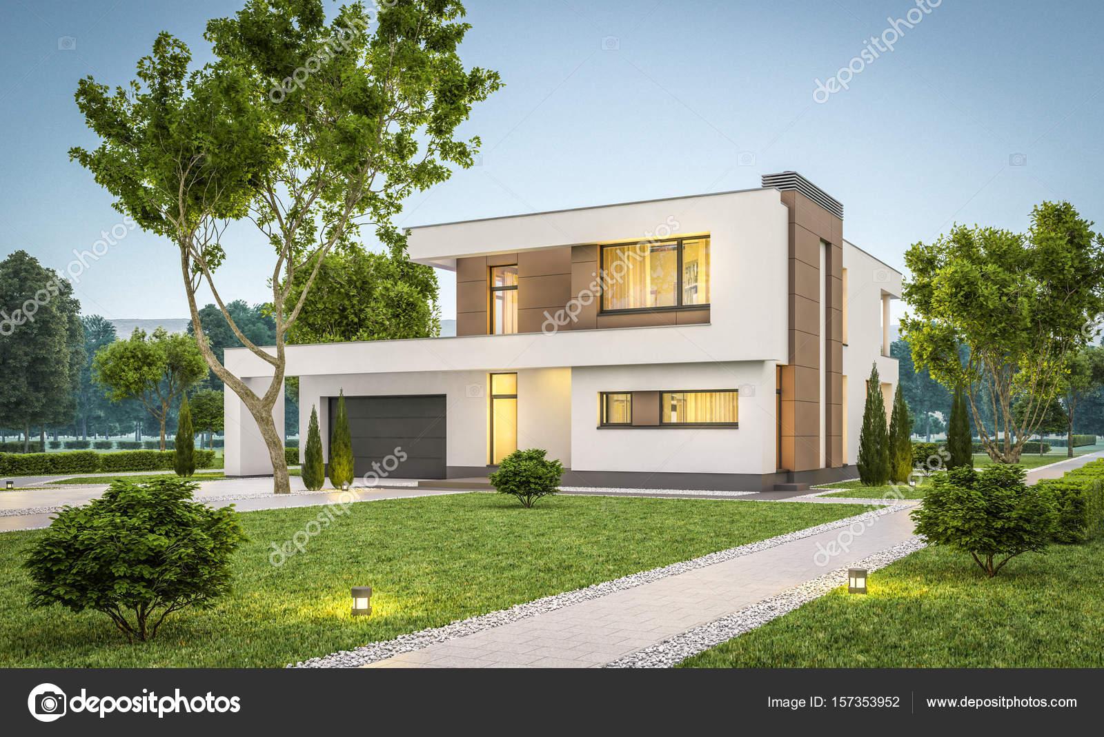 D rendering van moderne huis bij avond u stockfoto korisbo