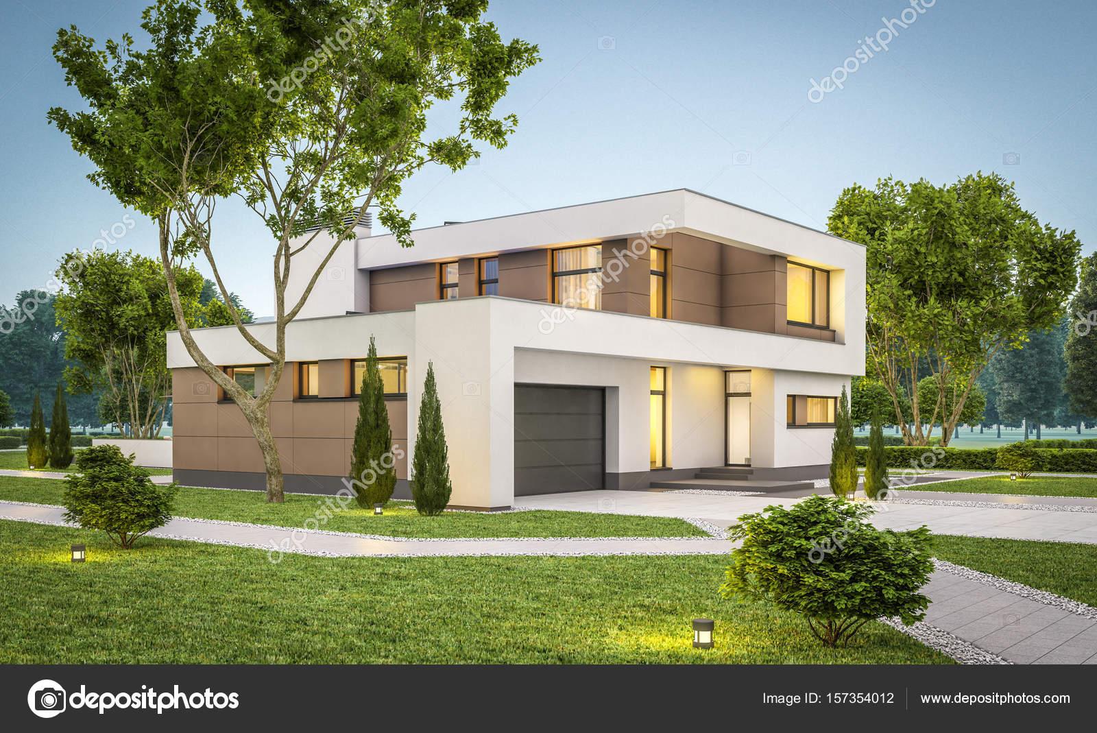 Renderiza o 3d da casa moderna na noite stock photo for Casas modernas renders