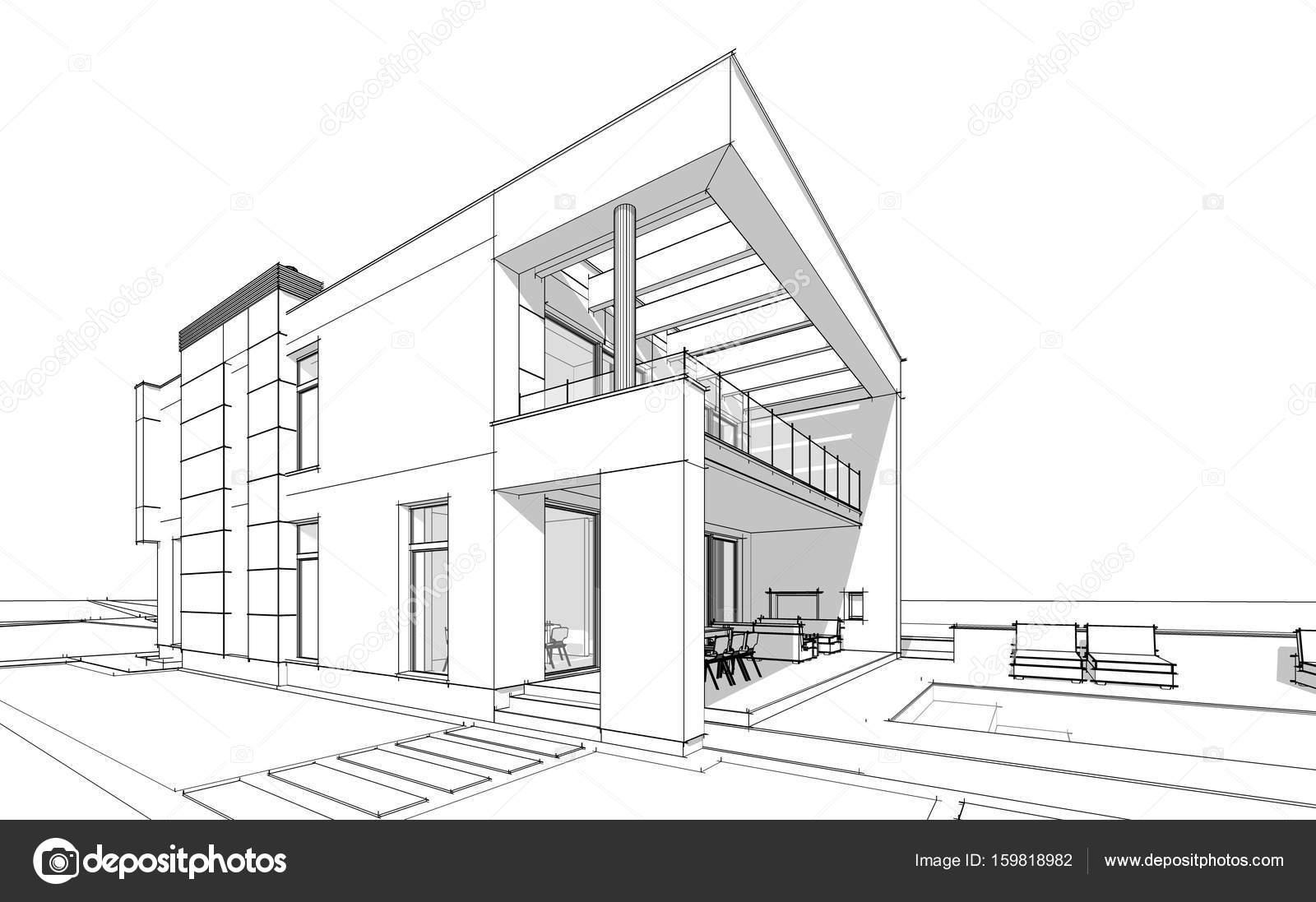 Schizzo di rendering 3d della casa accogliente moderna for Casa moderna accogliente