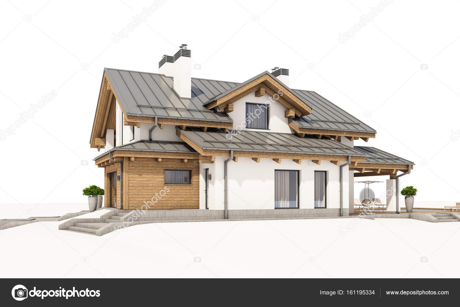 renderiza o 3d da moderna aconchegante casa em estilo. Black Bedroom Furniture Sets. Home Design Ideas
