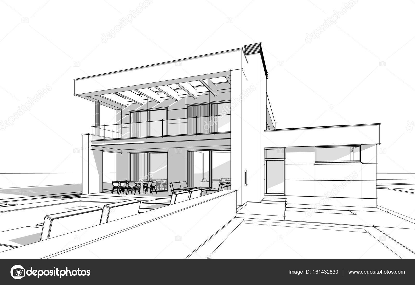 3d rendering skizze des modernen gem tlichen haus for Fachadas de casas modernas para colorear