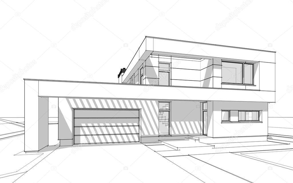 Dibujos bocetos de casas modernas bosquejo de - Dibujos de casas modernas ...