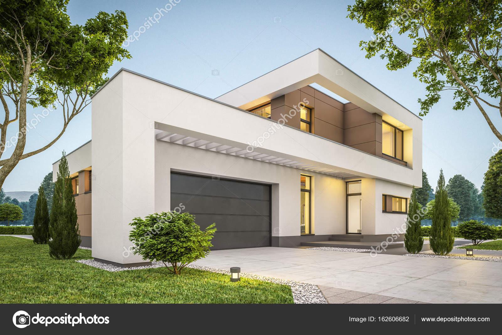 3d rendering van moderne huis bij avond u2014 stockfoto © korisbo@gmail