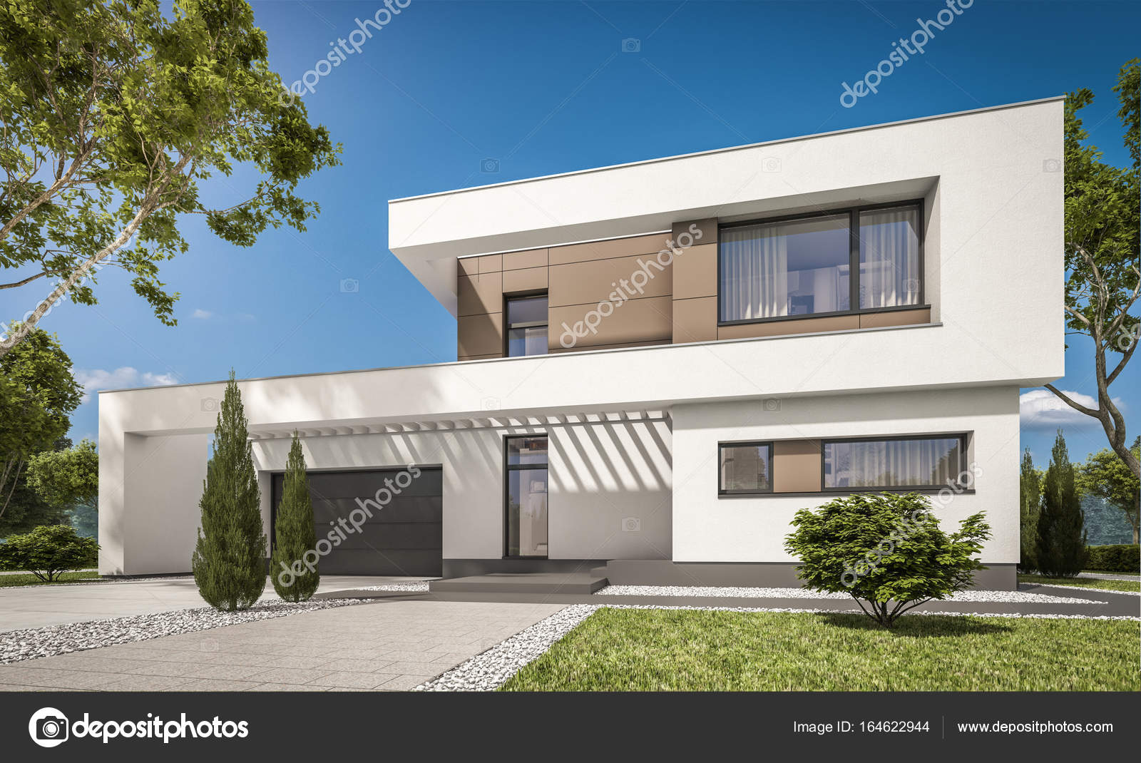 Render 3d de casa moderna fotos de stock korisbo gmail for Rendering case moderne