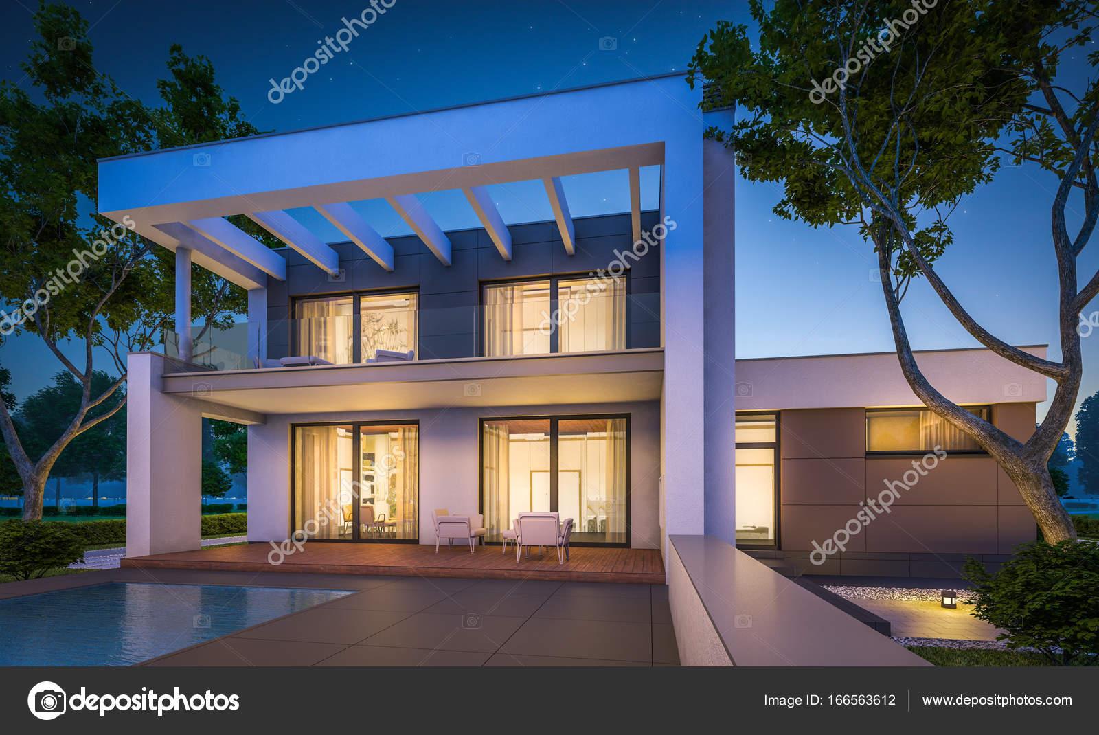 D rendering van moderne huis bij nacht u stockfoto korisbo