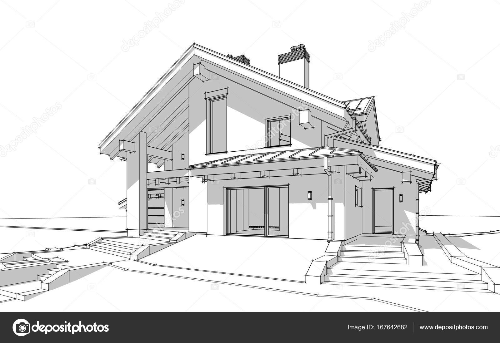 3D Render-Skizze des modernen gemütlichen Haus im Chalet-Stil ...
