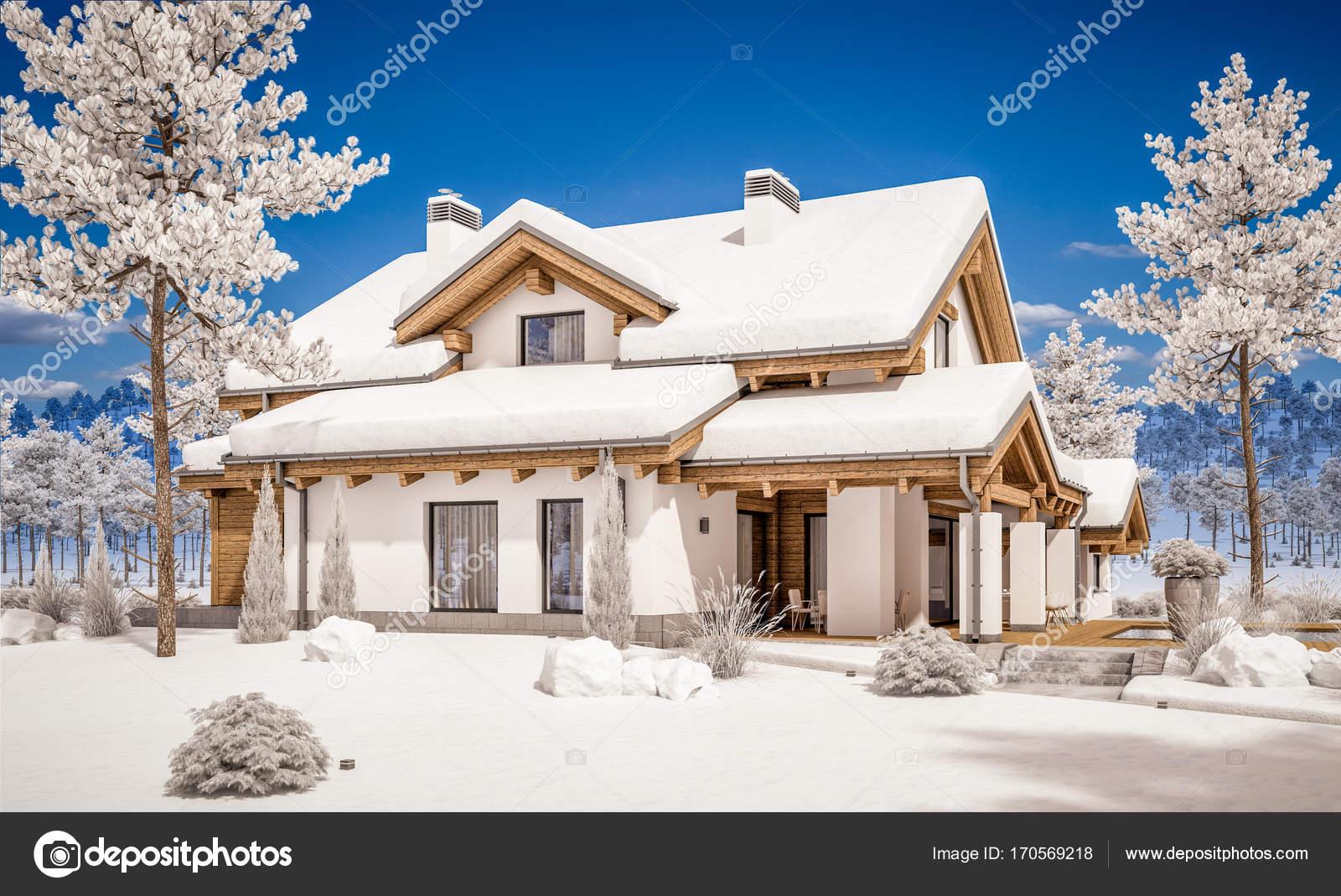 Rendering 3d di casa accogliente moderna in stile chalet for Casa moderna accogliente