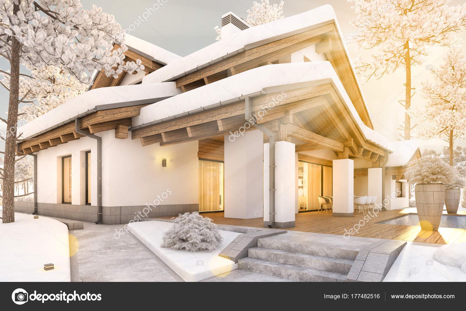 D rendering van gezellige stadsvilla in chalet stijl u stockfoto