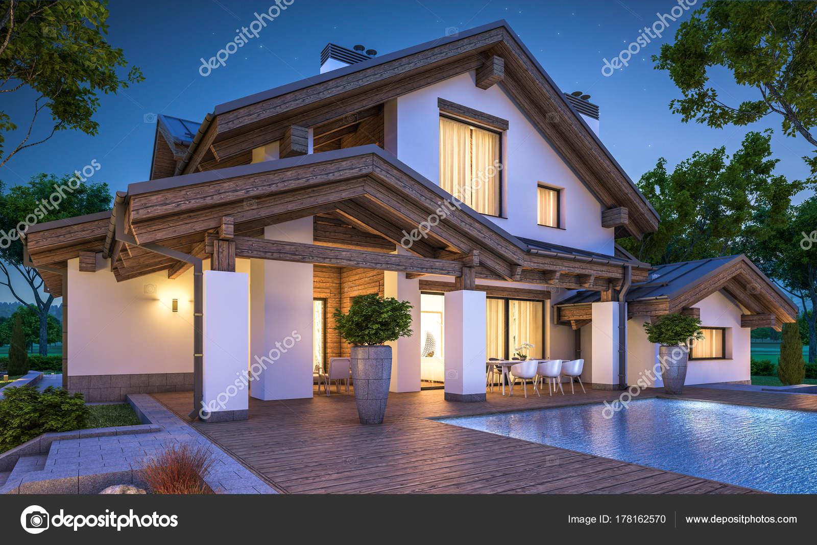 3D-Rendering des modernen gemütlichen Haus im Chalet-Stil ...