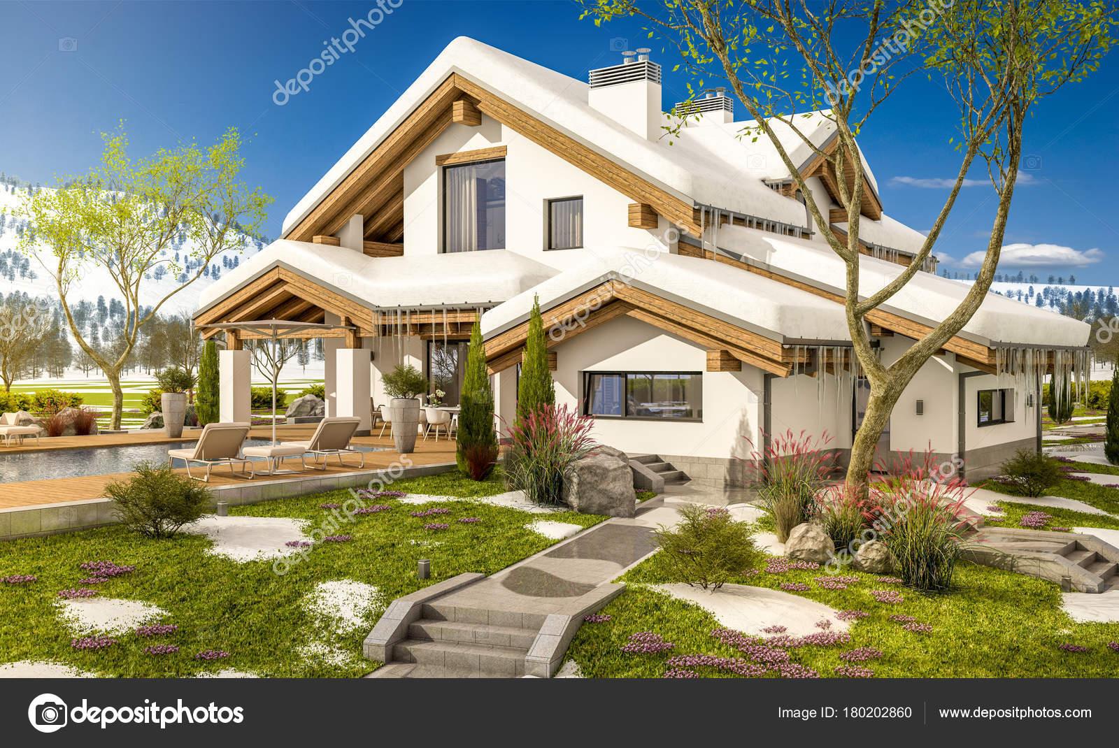3D-Rendering Frühling modernes gemütliches Haus im Chalet-Stil ...