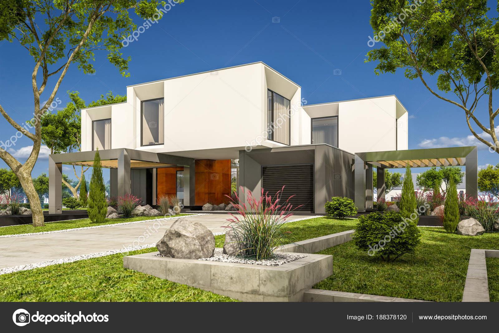 jardin casa moderna render 3d de una casa moderna en el