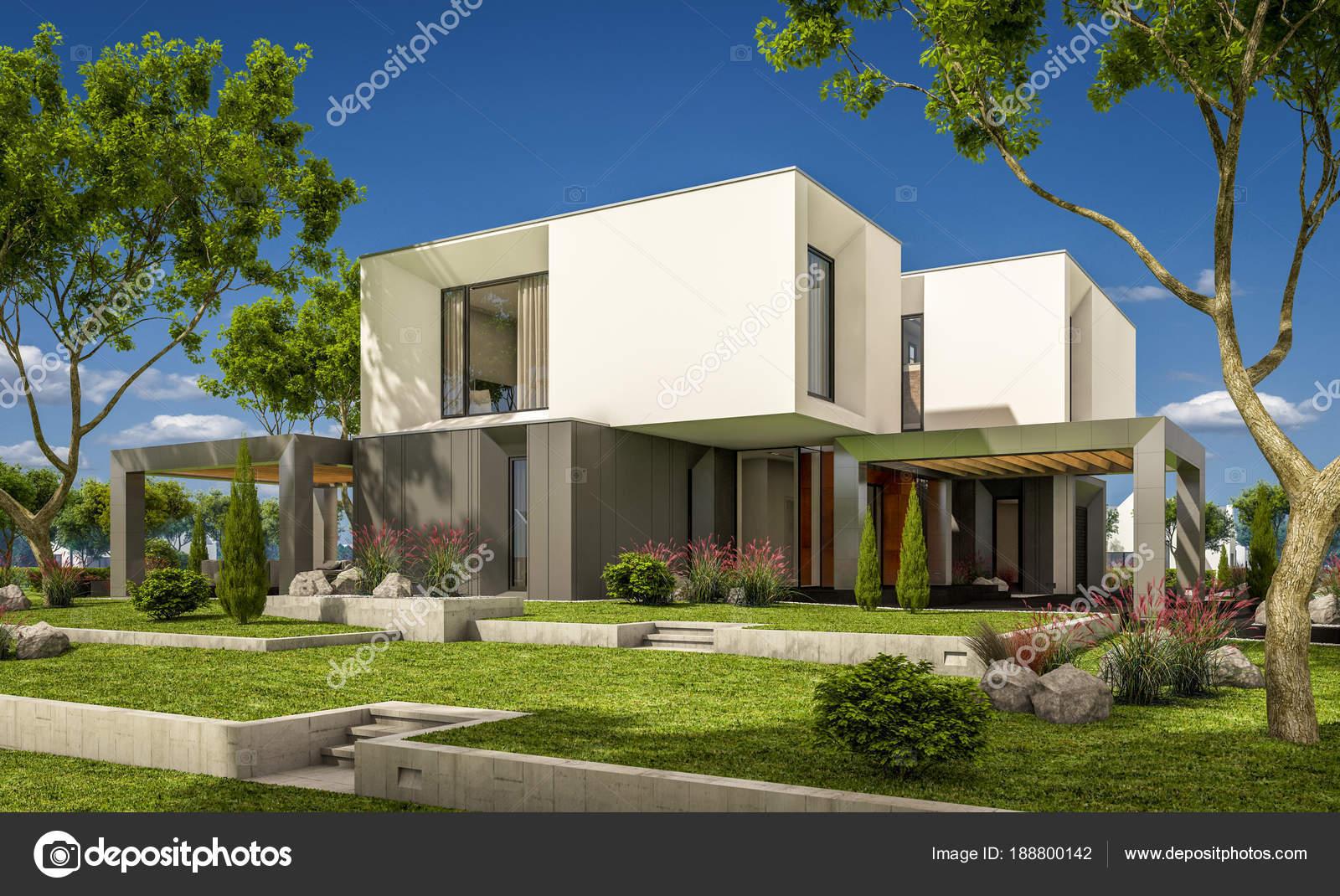 rendu 3D d\'une maison moderne dans le jardin — Photographie korisbo ...