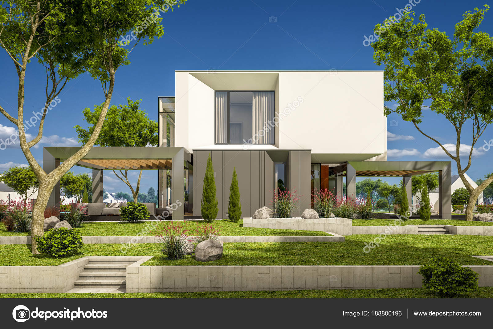 Render de casas modernas render 3d de una casa moderna for Casa moderna jardines