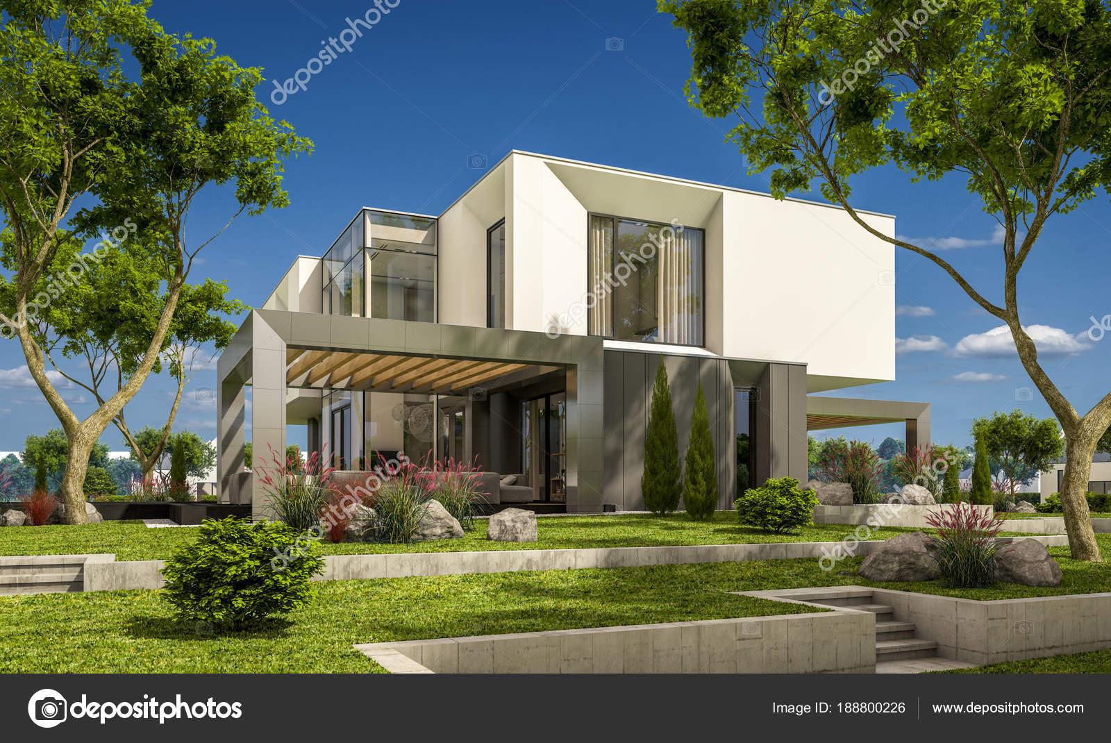 Rendering 3d della casa moderna in giardino foto stock for Rendering giardino
