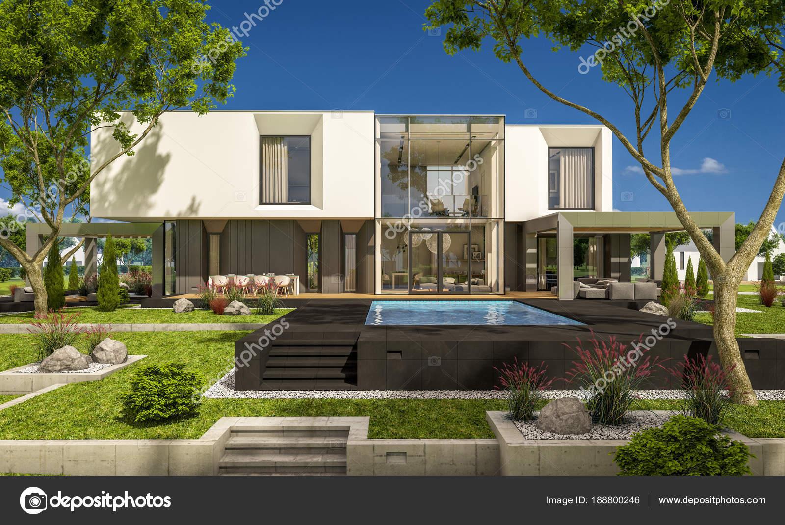 3D-Rendering des modernen Haus im Garten — Stockfoto © korisbo@gmail ...
