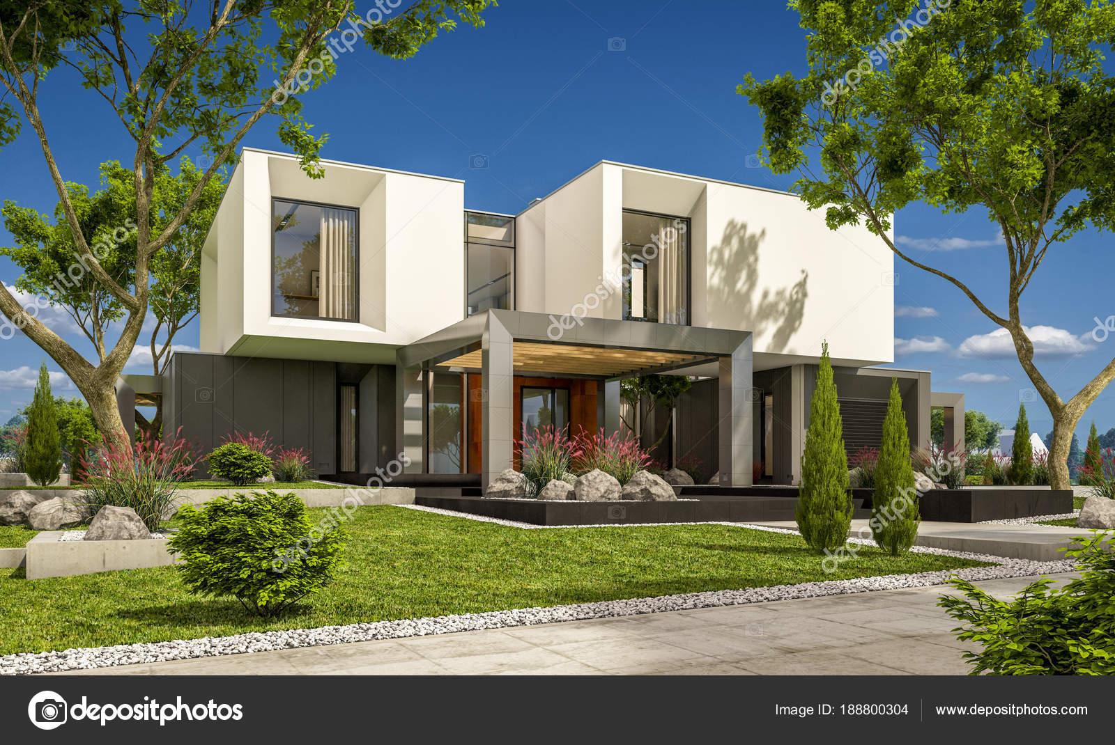 Render 3d de una casa moderna en el jard n fotos de for Casa moderna jardin d el menzah