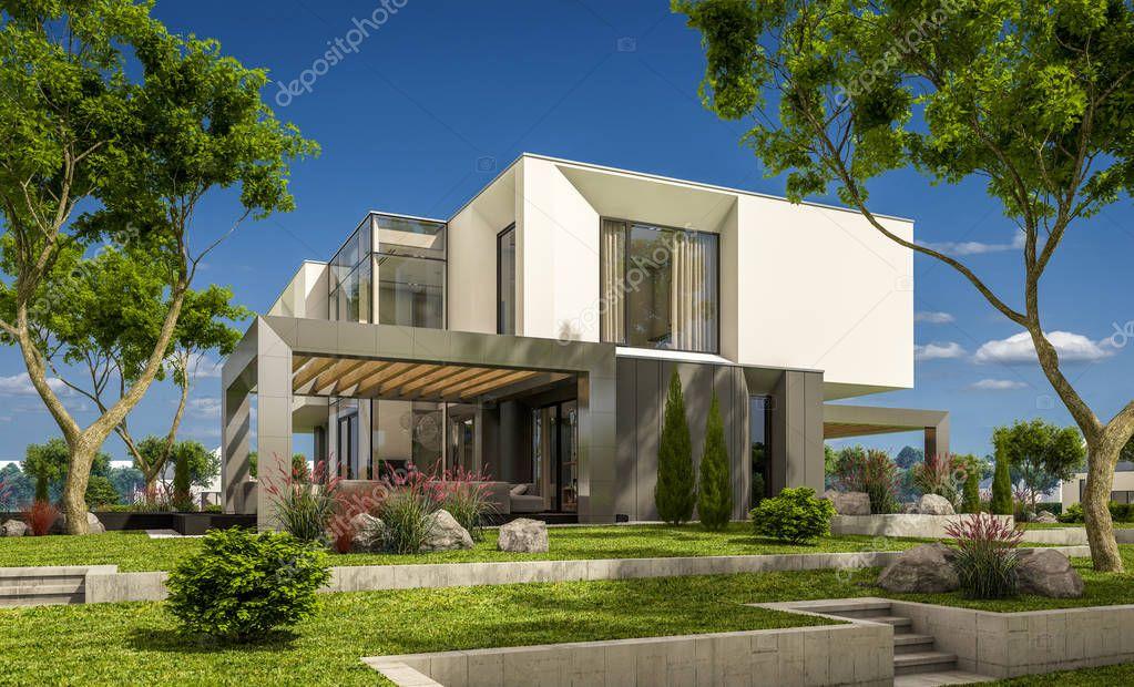 Rendering 3d della casa moderna in giardino foto stock for Casa moderna accogliente