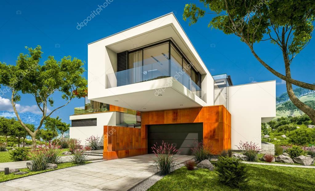 Rendering 3d della casa moderna dal fiume foto stock for Casa moderna accogliente