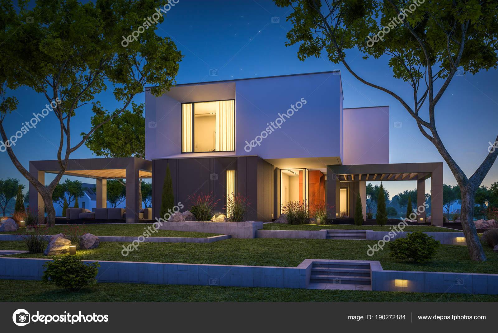 3d rendering van modern huis in de tuin s nachts u2014 stockfoto