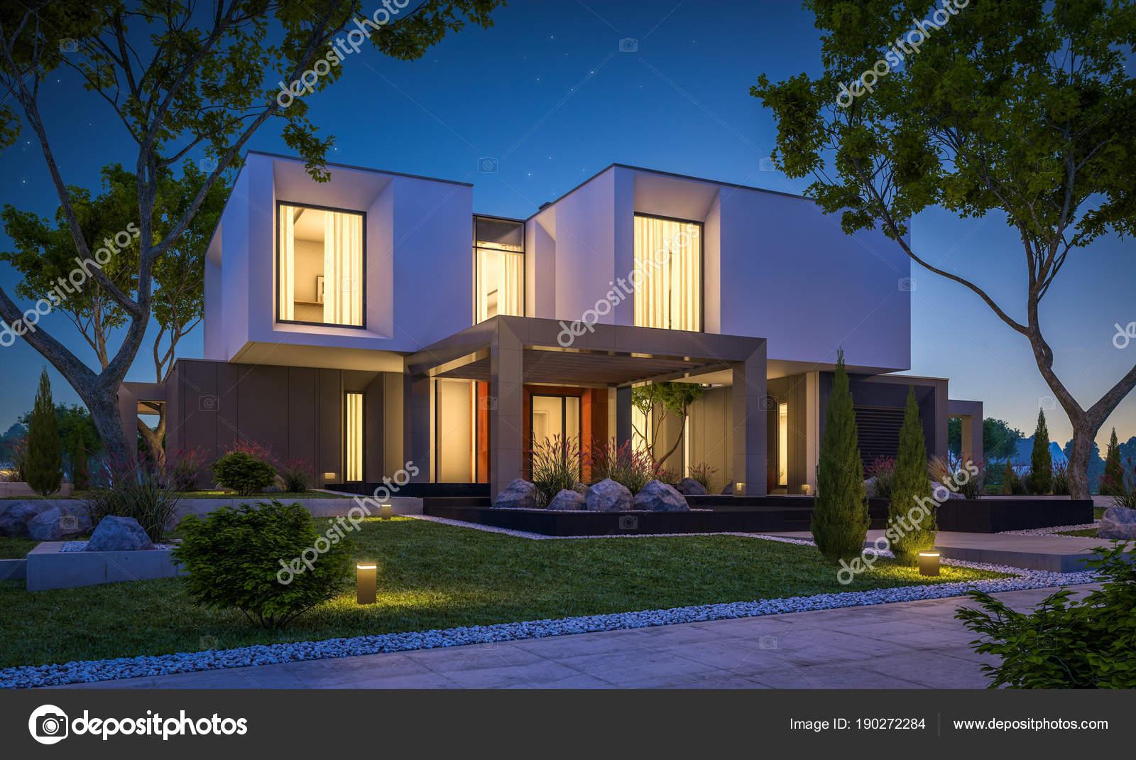 rendu 3D d\'une maison moderne dans le jardin de nuit — Photographie ...