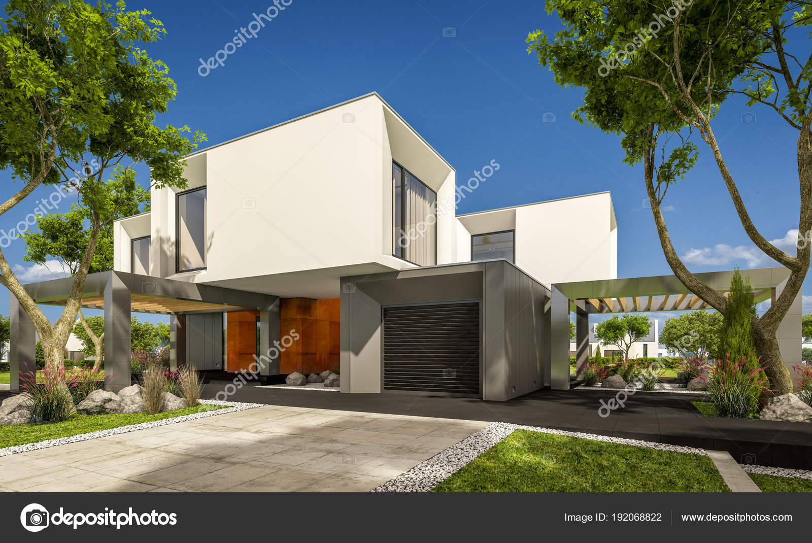 3d rendering van modern huis in de tuin u2014 stockfoto © korisbo@gmail