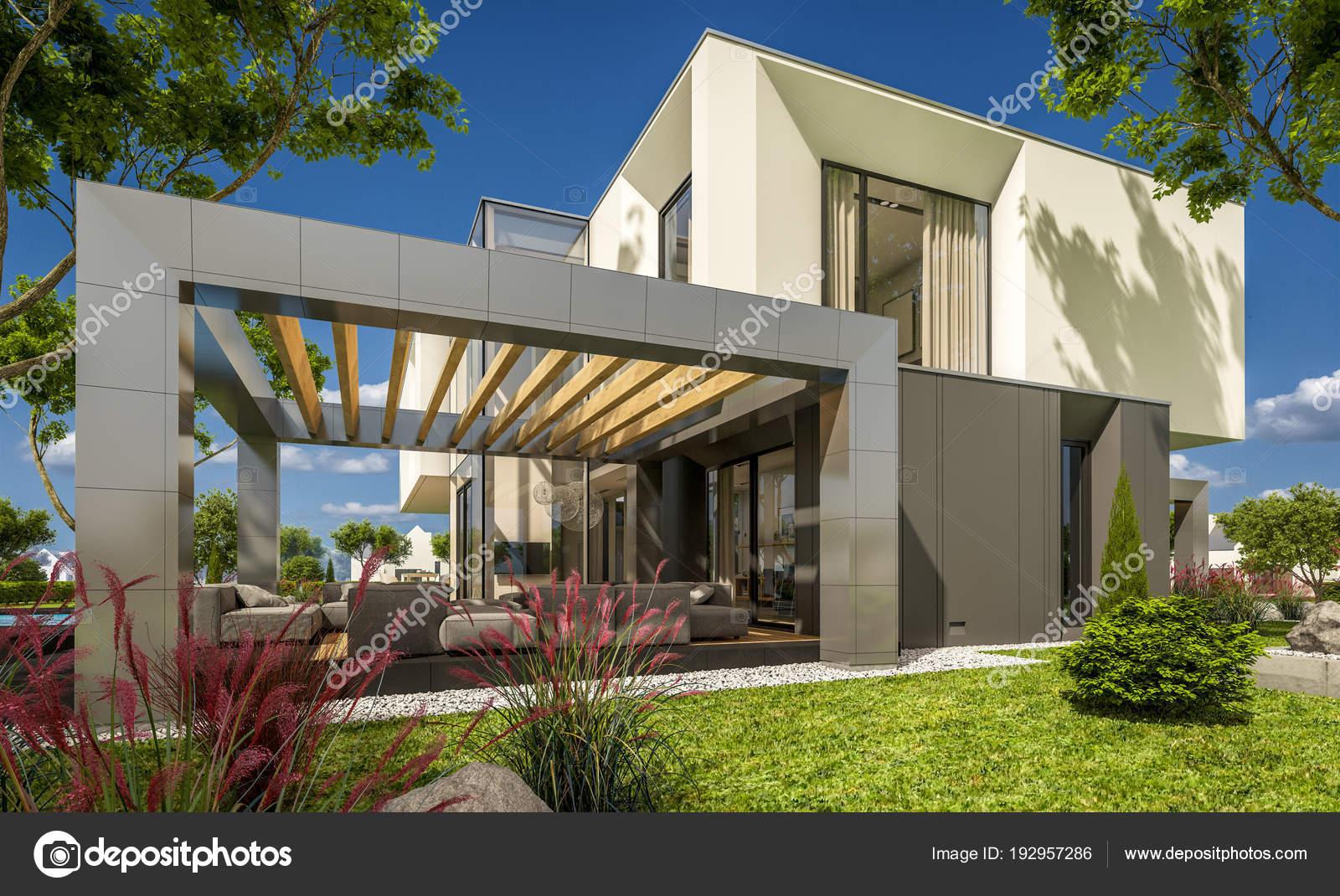 Render 3d de una casa moderna en el jard n fotos de for Casa moderna jardines