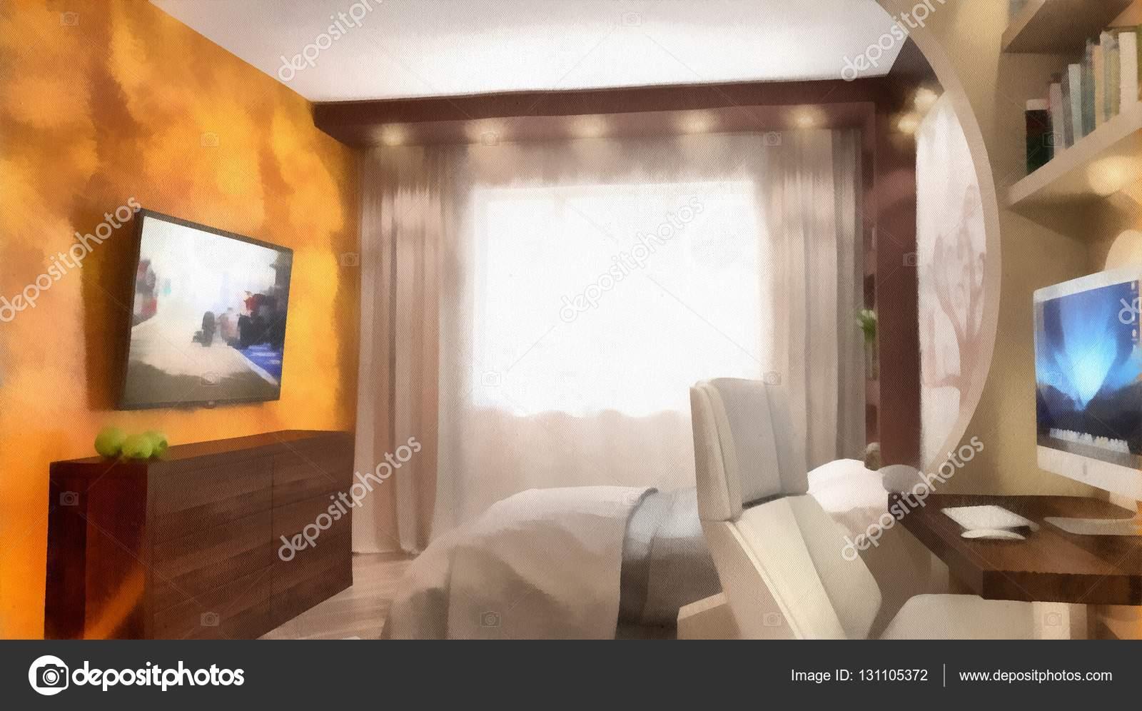 Modern Interieur Schilderij : Aquarel schilderij van een modern interieur d rendering