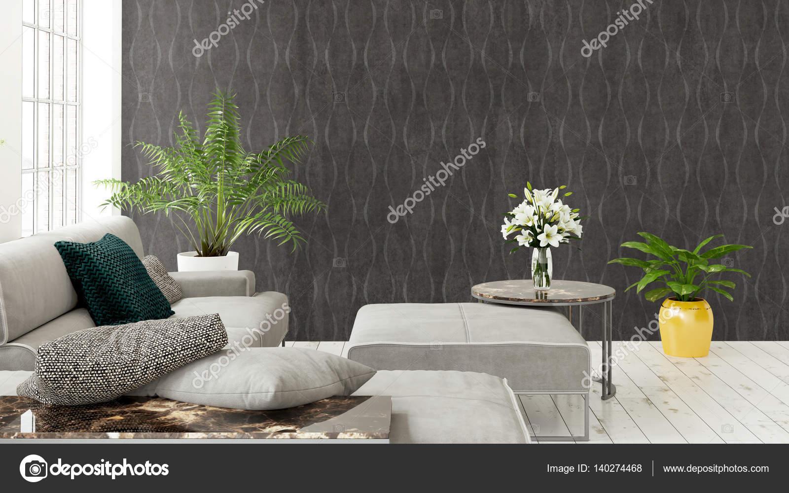 Modernes helles interieur mit großem fenster. 3d rendering