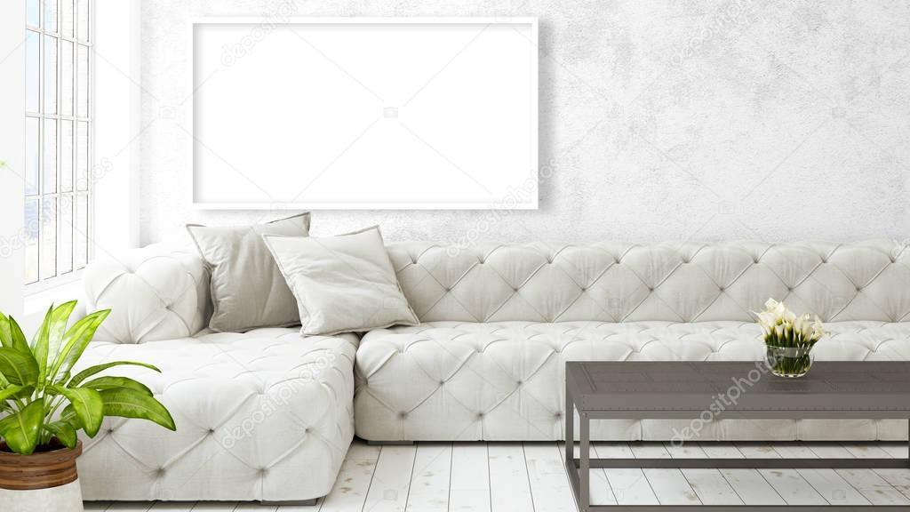 Interni moderni e luminosi con cornice vuota rendering 3d for Interni moderni foto