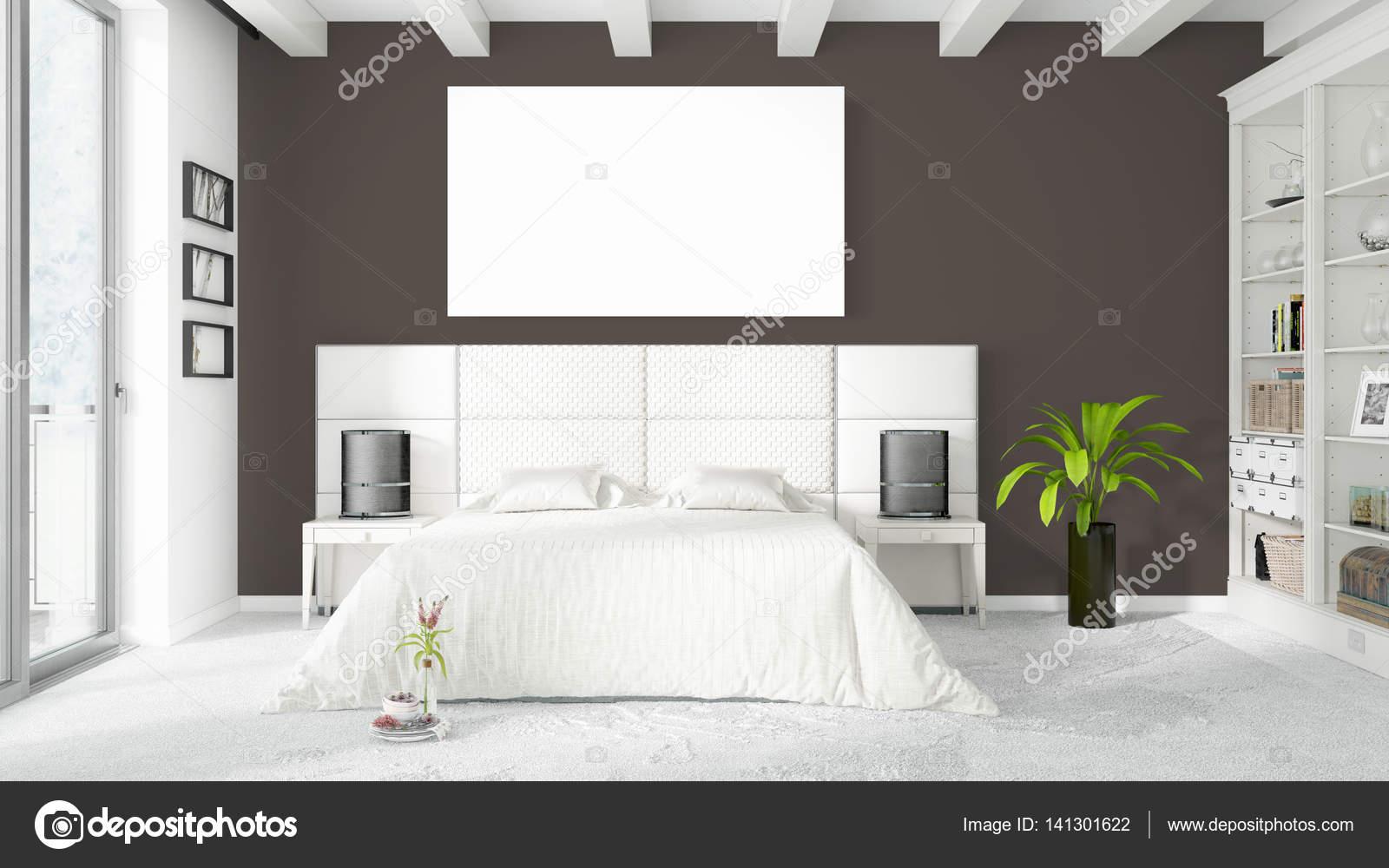Moderne lichte interieur met lege kader d rendering u stockfoto