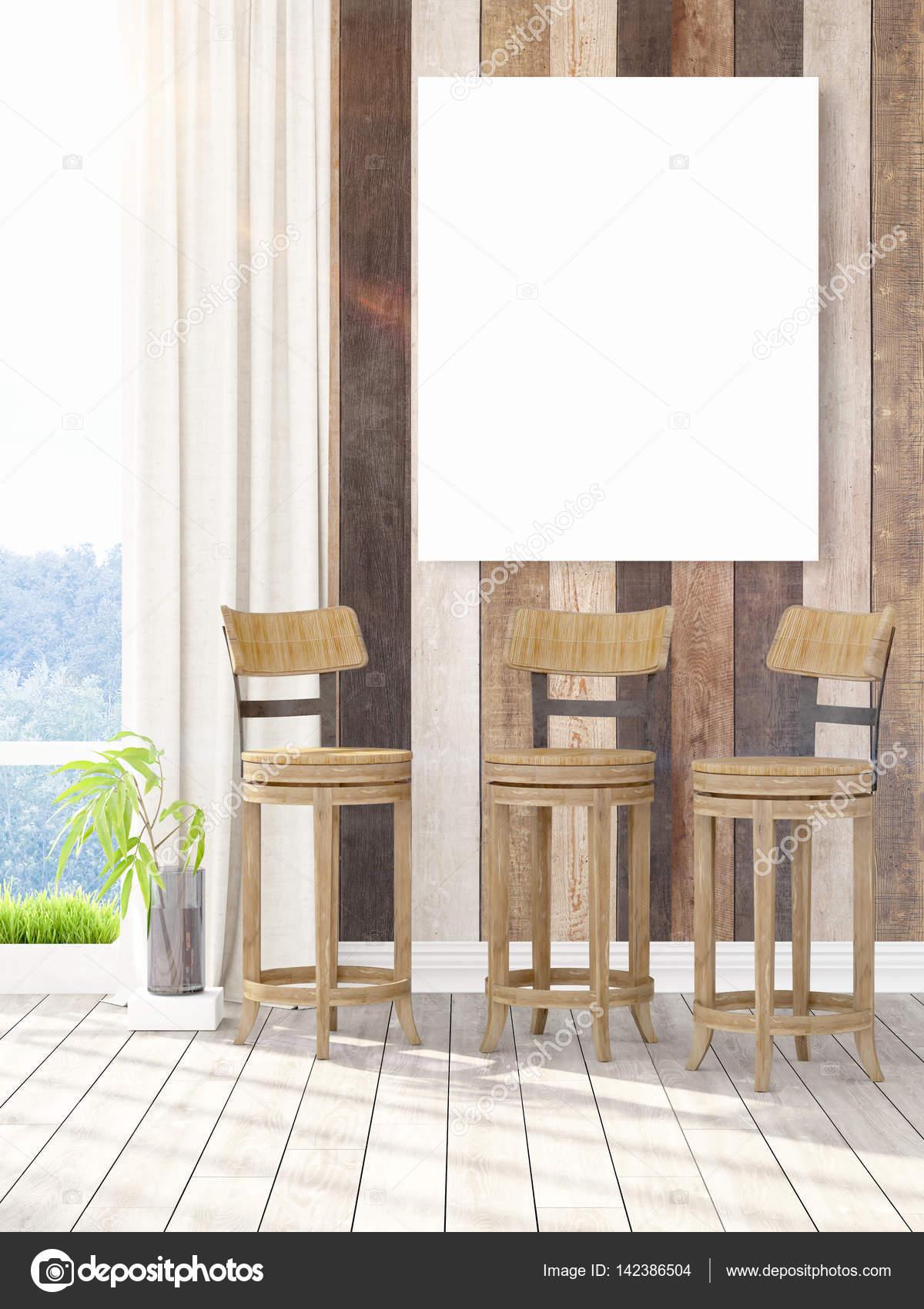 Modernes Interieur mit leeren Rahmen. 3D-Rendering — Stockfoto ...