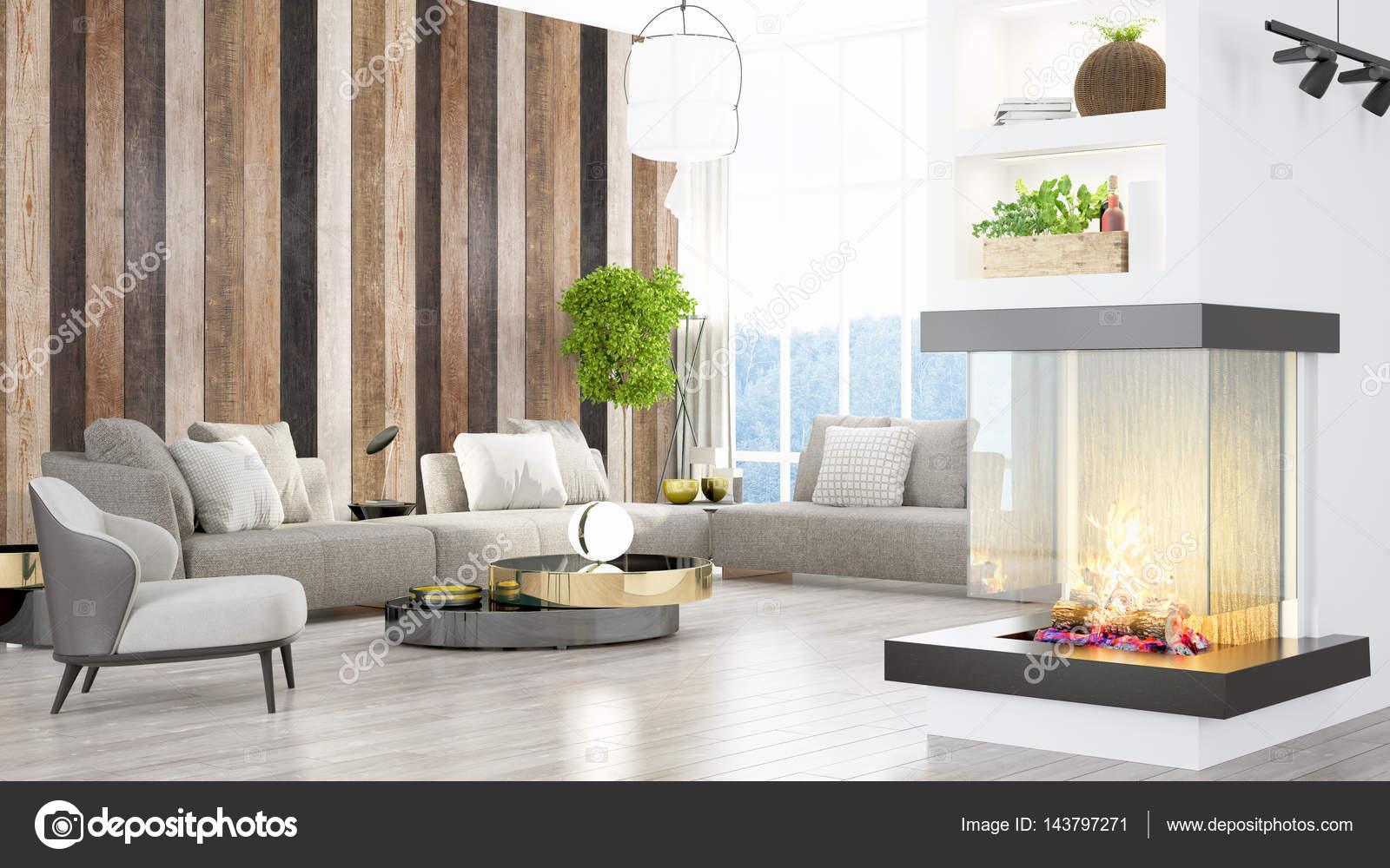 Beau Salon Interieur Avec Cheminee 3d Rendu Photographie Elsar77 C 143797271