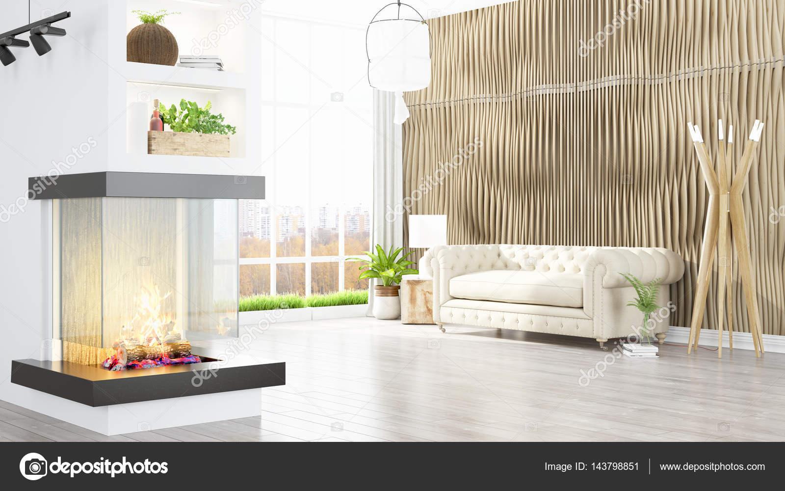Beau Salon Moderne Interieur Avec Cheminee 3d Rendu Photographie Elsar77 C 143798851