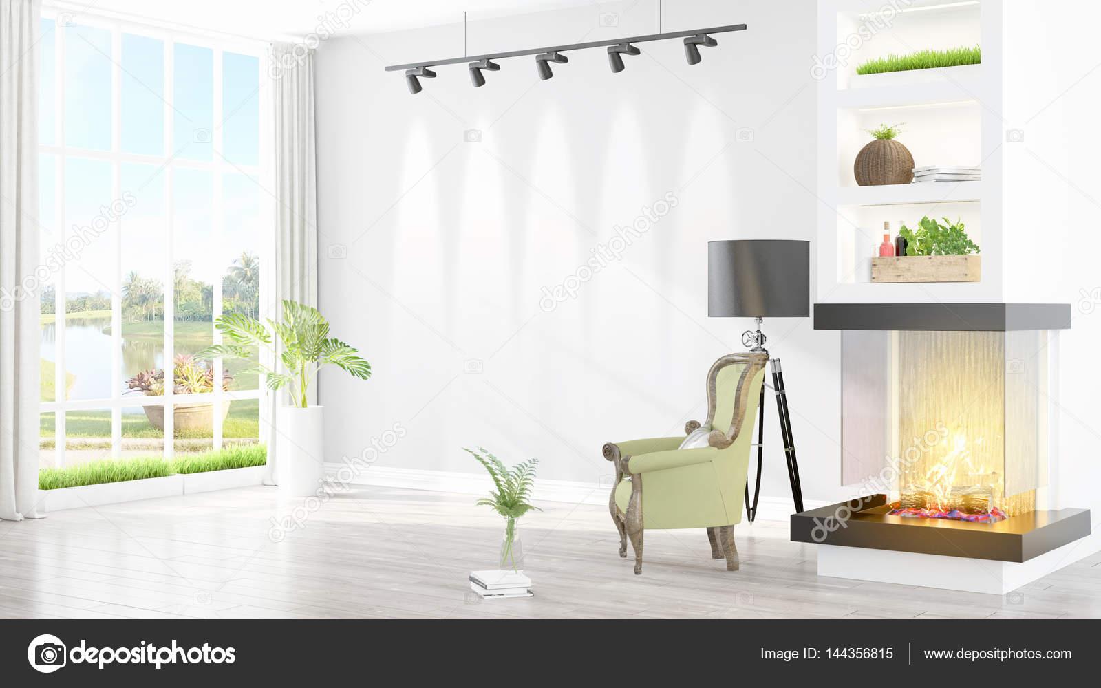 Beau Salon Interieur Avec Cheminee 3d Rendu Photographie Elsar77 C 144356815