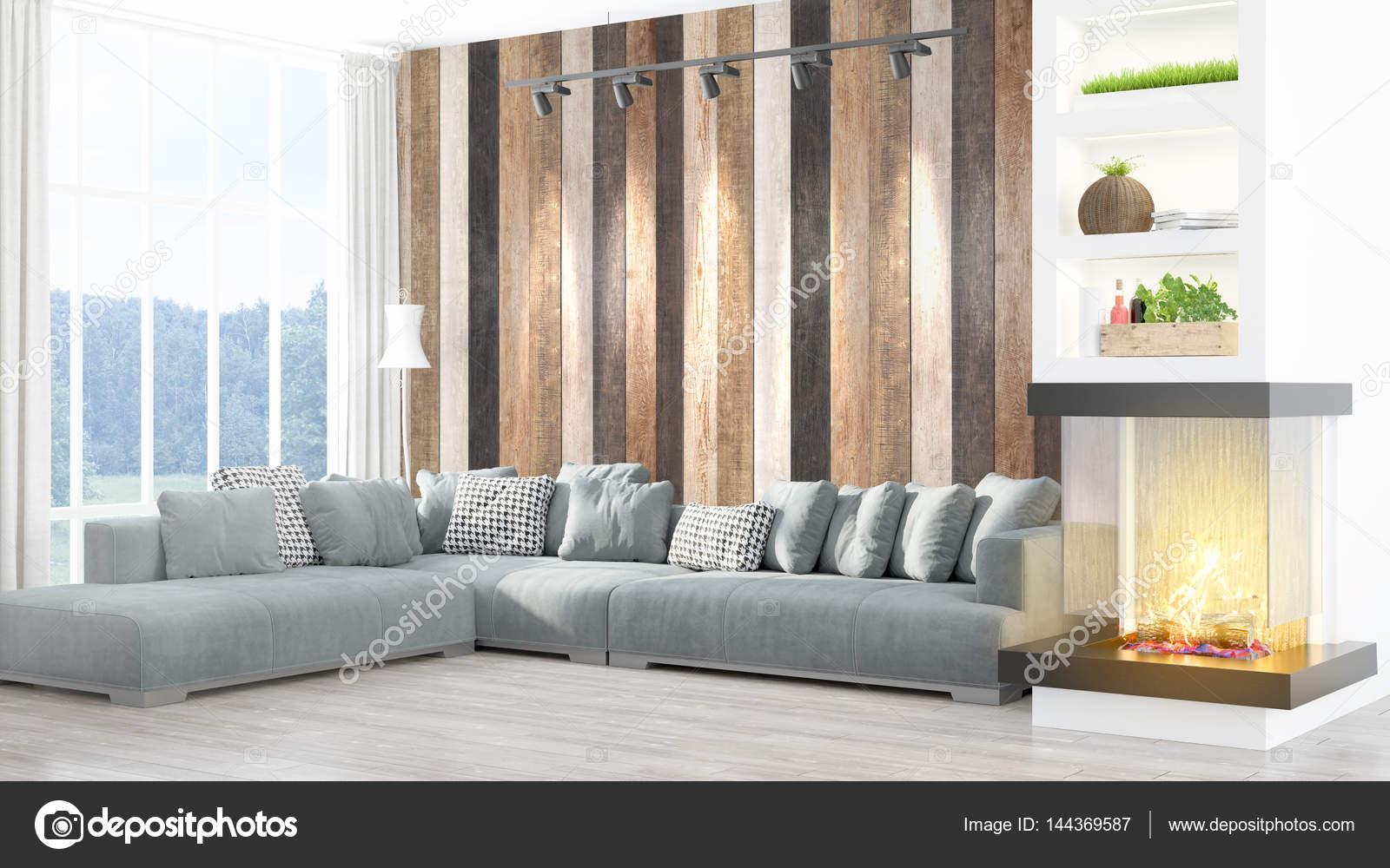 Beau Salon Moderne Interieur Avec Cheminee 3d Rendu Photographie Elsar77 C 144369587