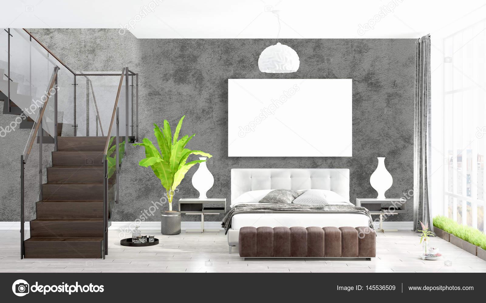 Modernes helles Interieur mit leeren Rahmen. 3D-Rendering ...