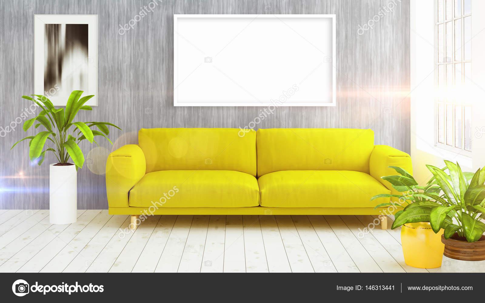 Interior brillante moderno con marco vacío. Render 3D — Fotos de ...