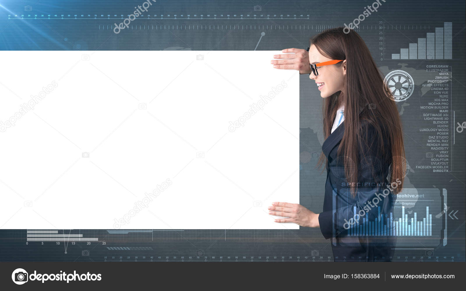 Business woman portrait with blank white board on painted business
